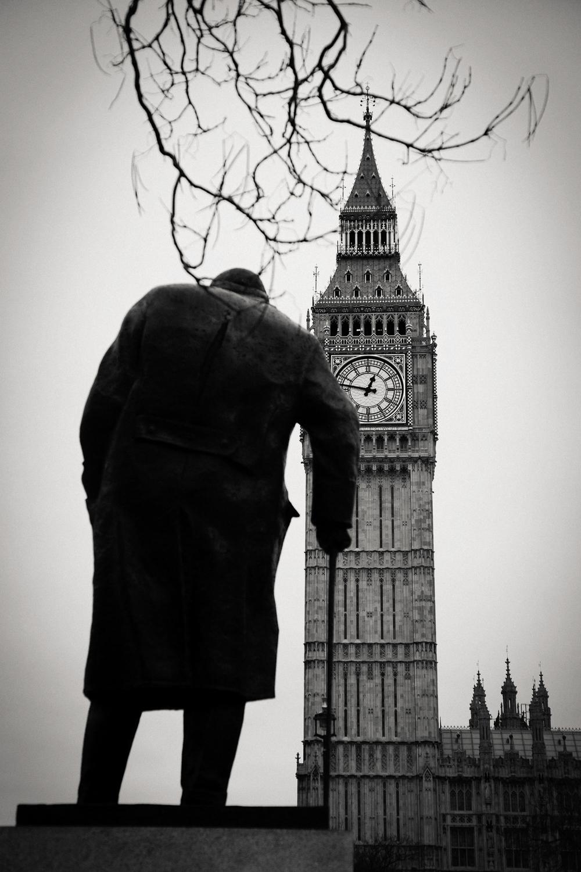 Winston Churchill, Big Ben, London 2013.