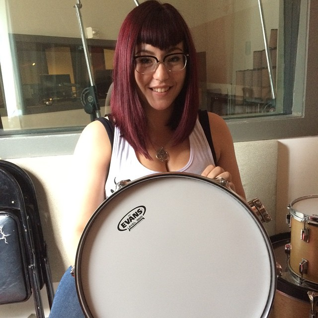 Lauren prepping the drums with new heads for our big Latin Trio Drum session tomorrow . #dubwaystudios #drumheads #nyc