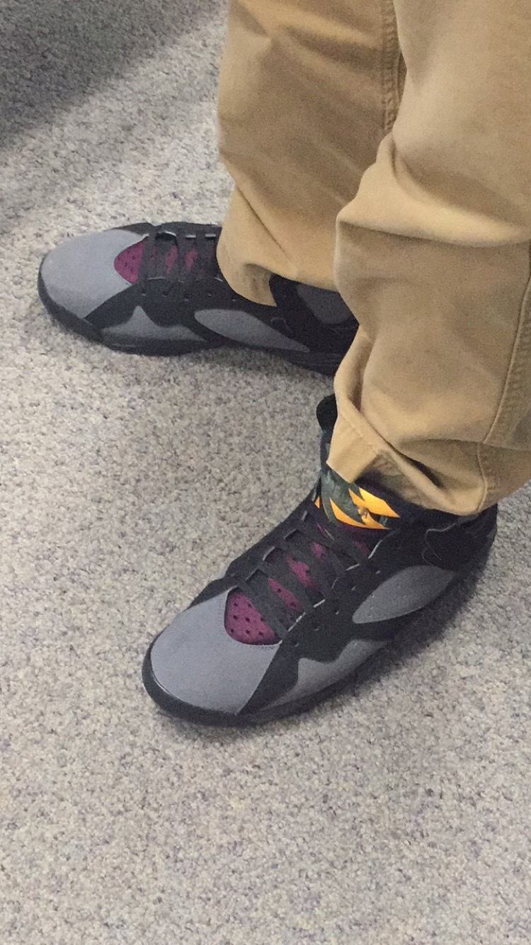 The specific colorway that Cameron Frank has here is known as the Bordeaux. Being one of the original Air Jordan 7 colorways meant that when it was first released as a retro the shoe sold out very quickly. The first retro release in this colorway was in 2011, but Jordan had a re release in 2015 that allowed many fans of the shoe to have another chance.