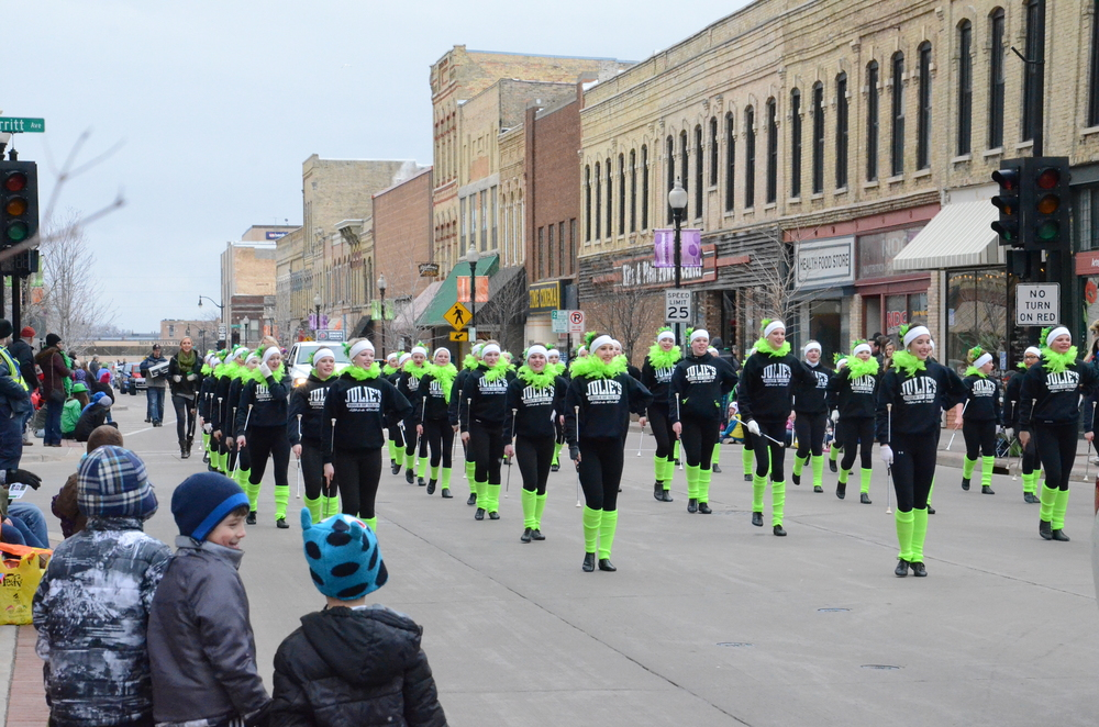 ulie's Touch of Silver peforms a baton routine for the crowd on the cold morning of St. Patrick's Day.