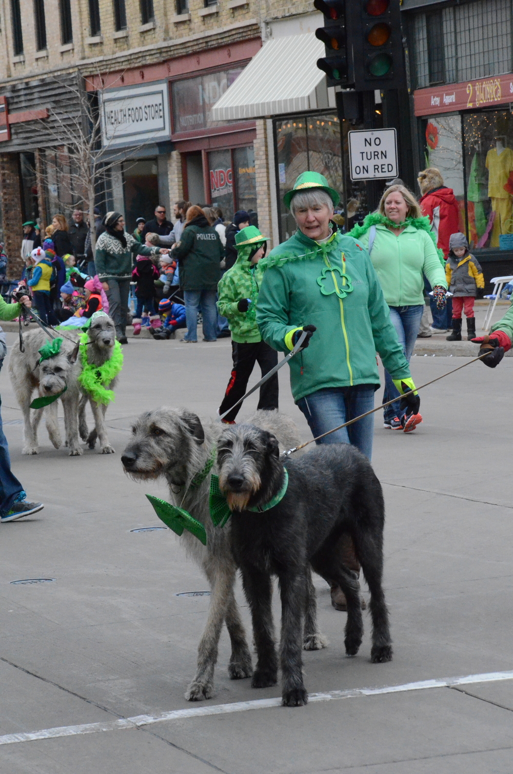 arious Oshkosh residents walk their dogs during the parade and dress them up in festive decorations.