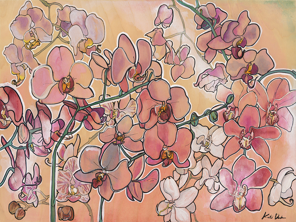 Orchids in Your Favor 18x24 wood panel
