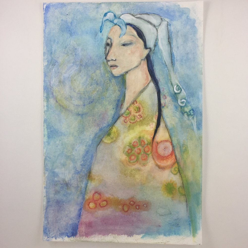 Kimono Day 2 watercolor and acrylic on paper