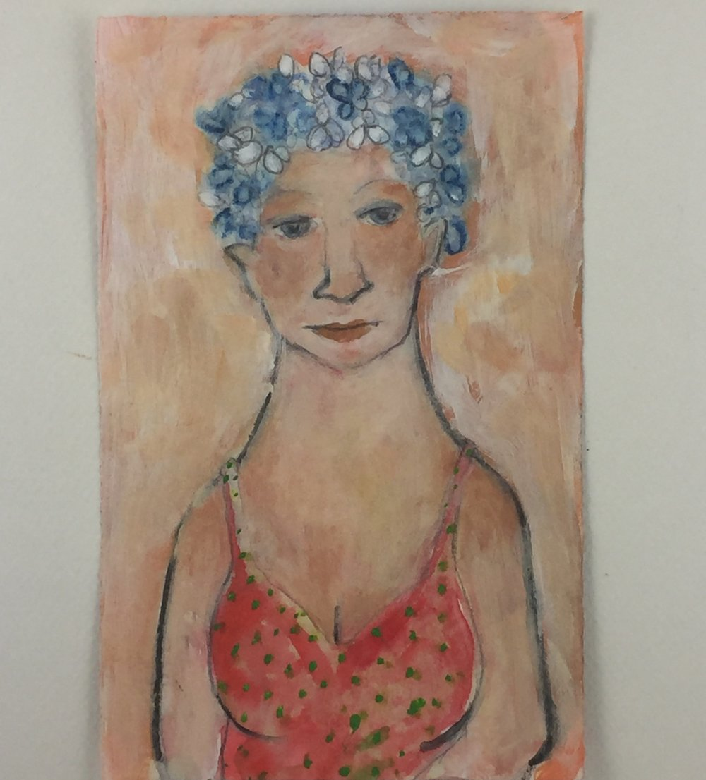 Day 3 painting Bathing Beauty watercolor and acrylic on oaper