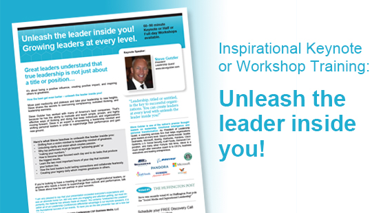 INSPIRE YOUR TEAM WITH THIS KEYNOTE OR WORKSHOP DESIGNED TO TO EMPOWER EVERYONE IN YOUR ORGANIZATION. TOGETHER WE CAN GROW LEADERS AT EVERY LEVEL. LEARN MORE.