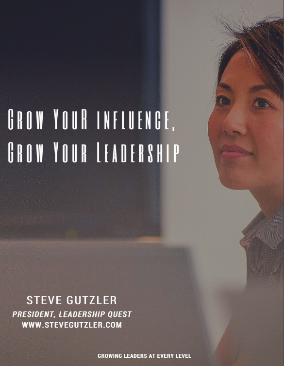 Genuine Leadership is not reserved or limited to the executive leadership team. It is shown through personal and powerful influence. LEARN MORE ABOUT THIS NEW TRAINING TODAY! Contact: admin@stevegutzler.com