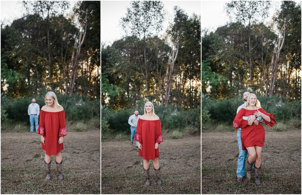 Engagement Photos, Red Dress, Woods Engagement Photos, Barn, Fall.jpg