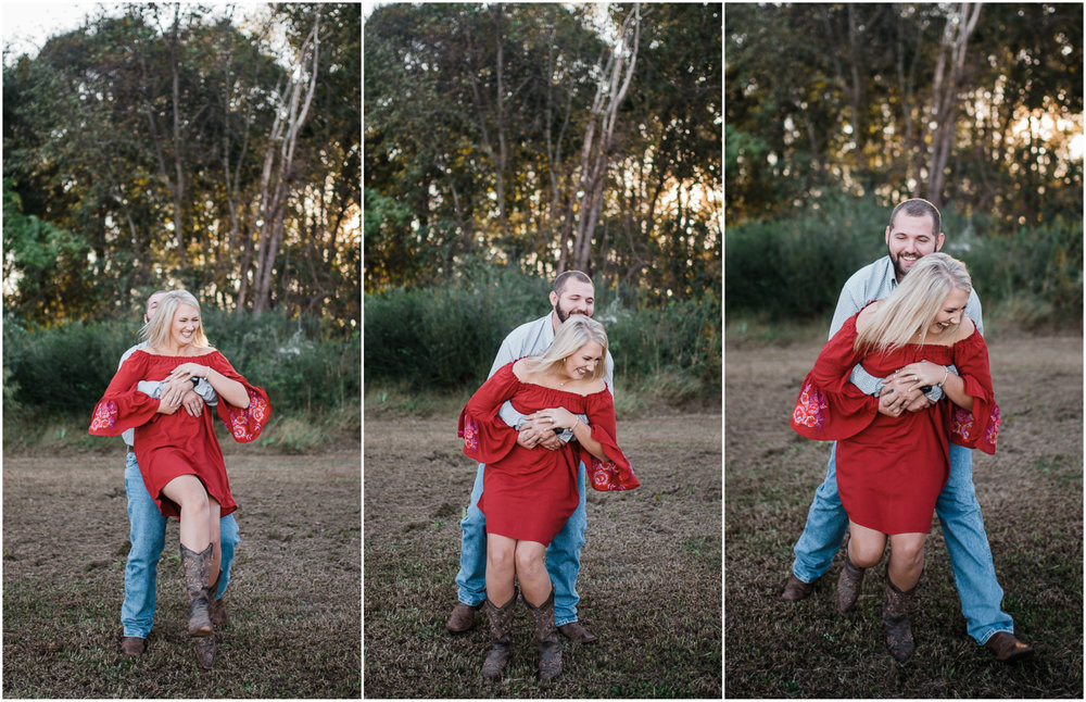 Fall Engagement Photos, Barn, Red Dress, Woods.jpg