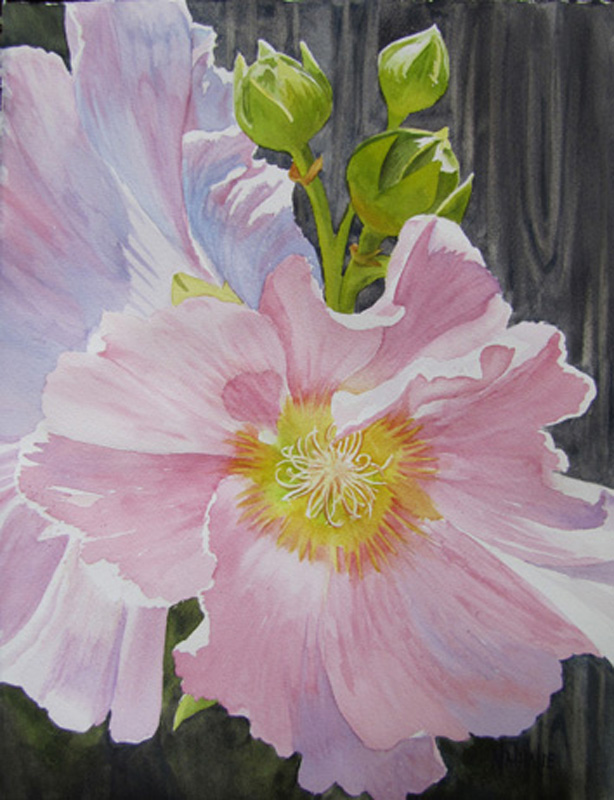 Pink Hollyhocks_11x15_Watercolor_Nathalie Kelley.jpg