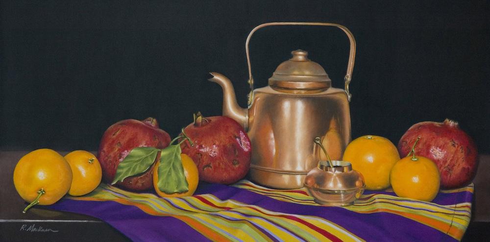 russmackensen_ Copper Pommegranates & Oranges_24 x 12_oilpastel.jpg