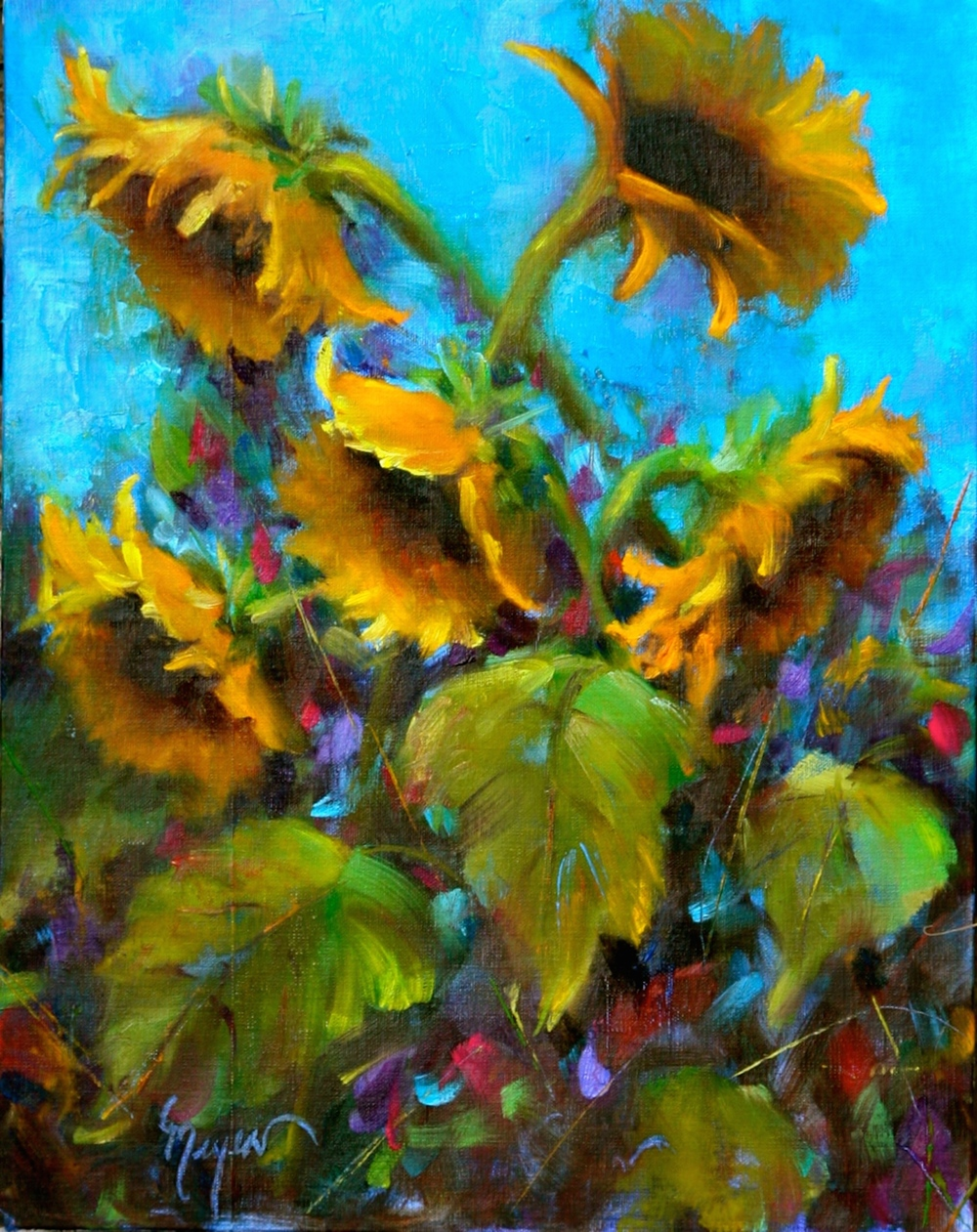 PatMeyer_Sunny Sunflowers 14 x 11 oil on canvas_jpeg.jpg