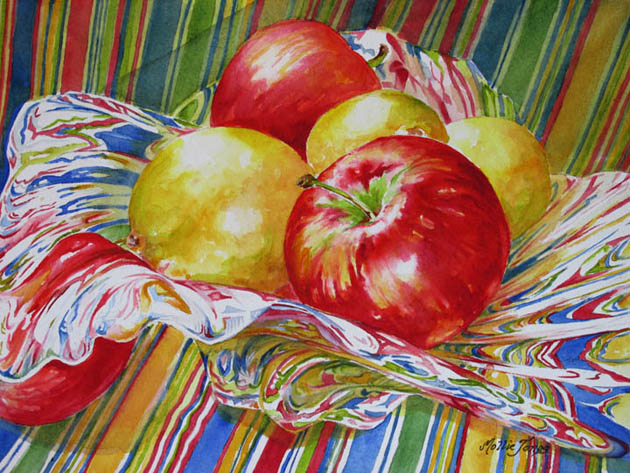 "HM ""Apples, Lemons and Stripes"" by Mollie Jones   Watercolor"