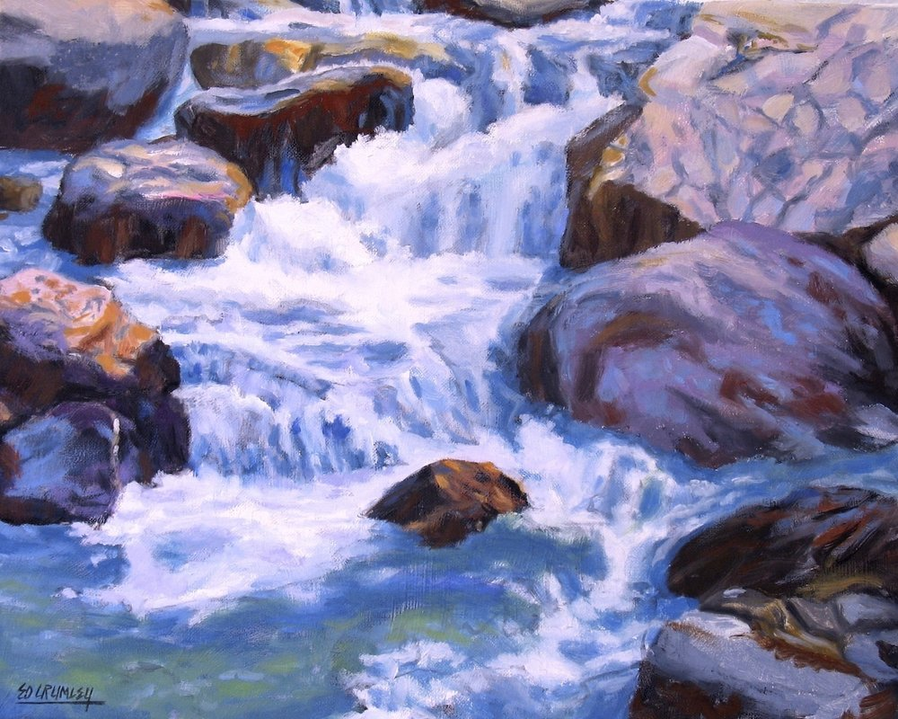 Ed Crumley, Rocky Mountain Falls, oil