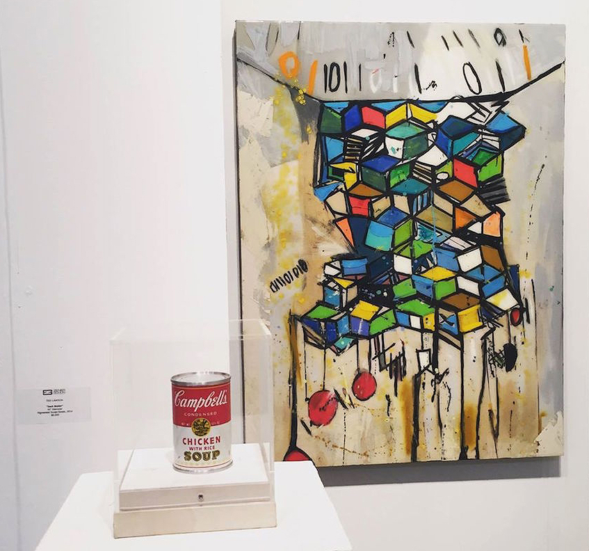 Andy Warhol Sculpture 1966, Campbell's Chicken Noodle Soup & Carly Ivan Garcia Geo Location Mixed Media Painting (Art Market SF 2015) ENTER