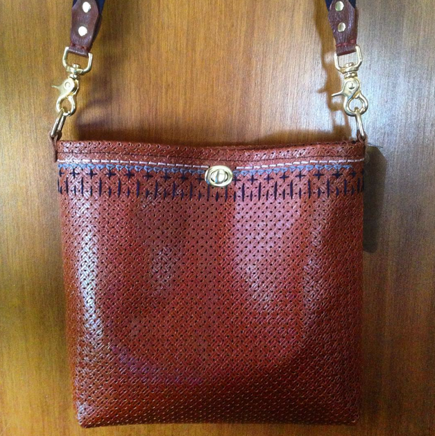 Handbag. Goat Leather, Cotton, Hand Embroidery