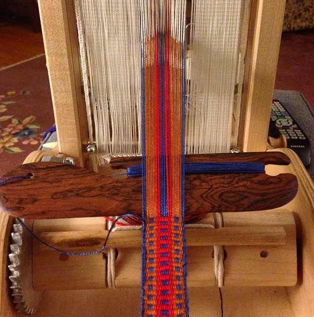 Handwoven strapping, in progress.