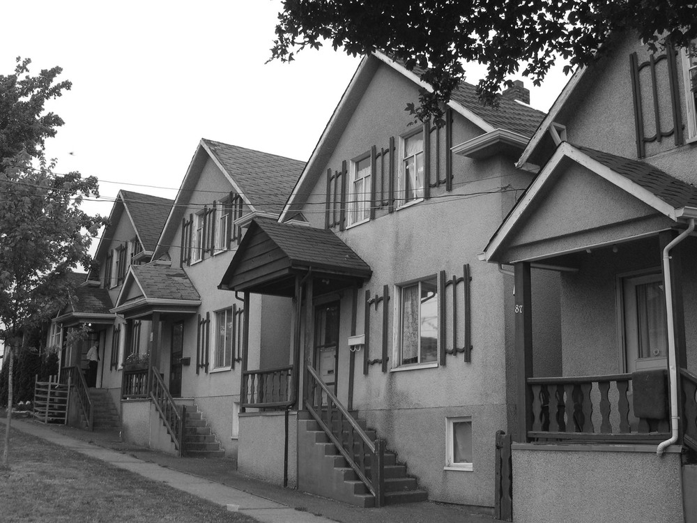 Five houses in 2004 prior to restoration
