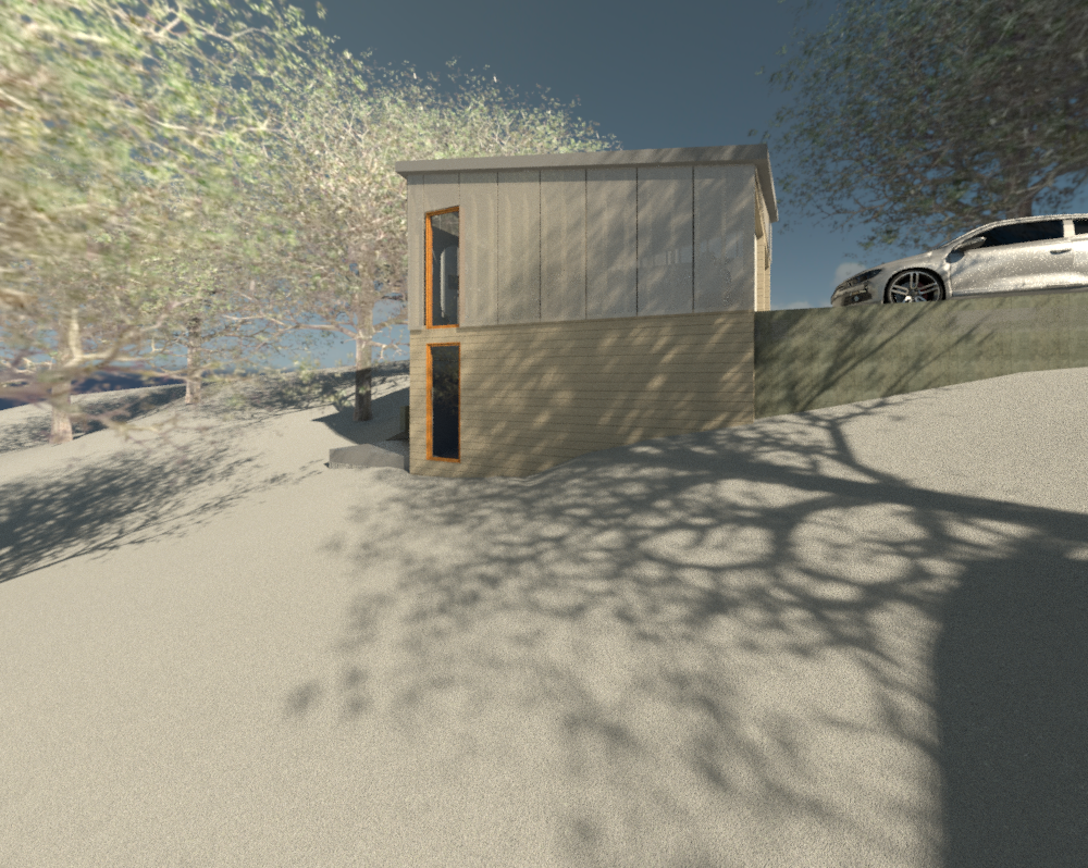 Skidgel_2014_06_11_Conceptual_Development_Review.rvt_2014-Jul-07_04-24-31PM-000_EXT_GARAGE_sw_towards_garage.png