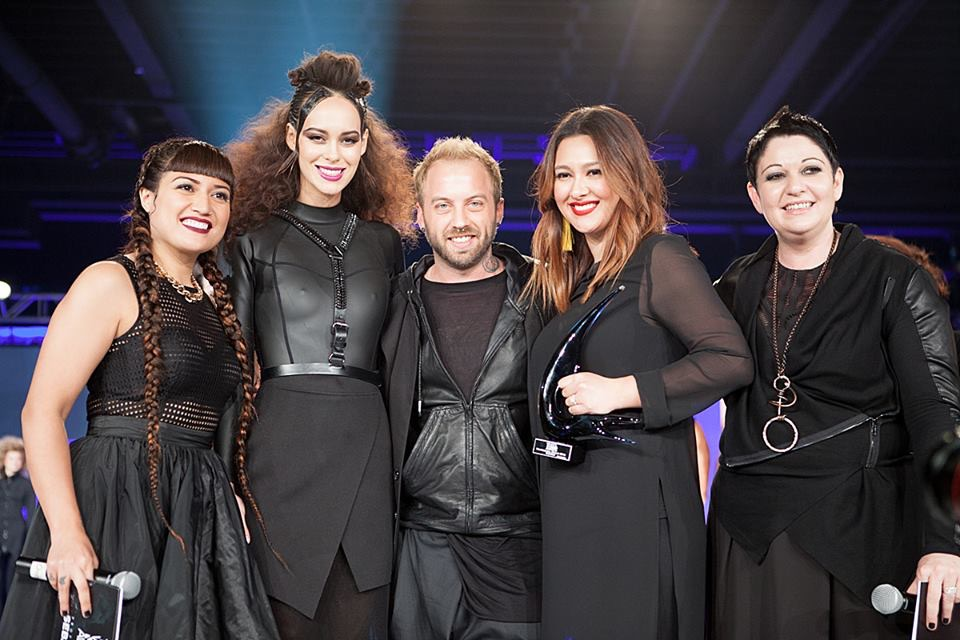 "Sebastian WNA ""Professional"" Category Winner for 2016.from Left to right- Christina McCarver, Model Martina, Oliver Shortall, Damaris Earlewine, and Carole Protat (photo by Randy Taylor)"