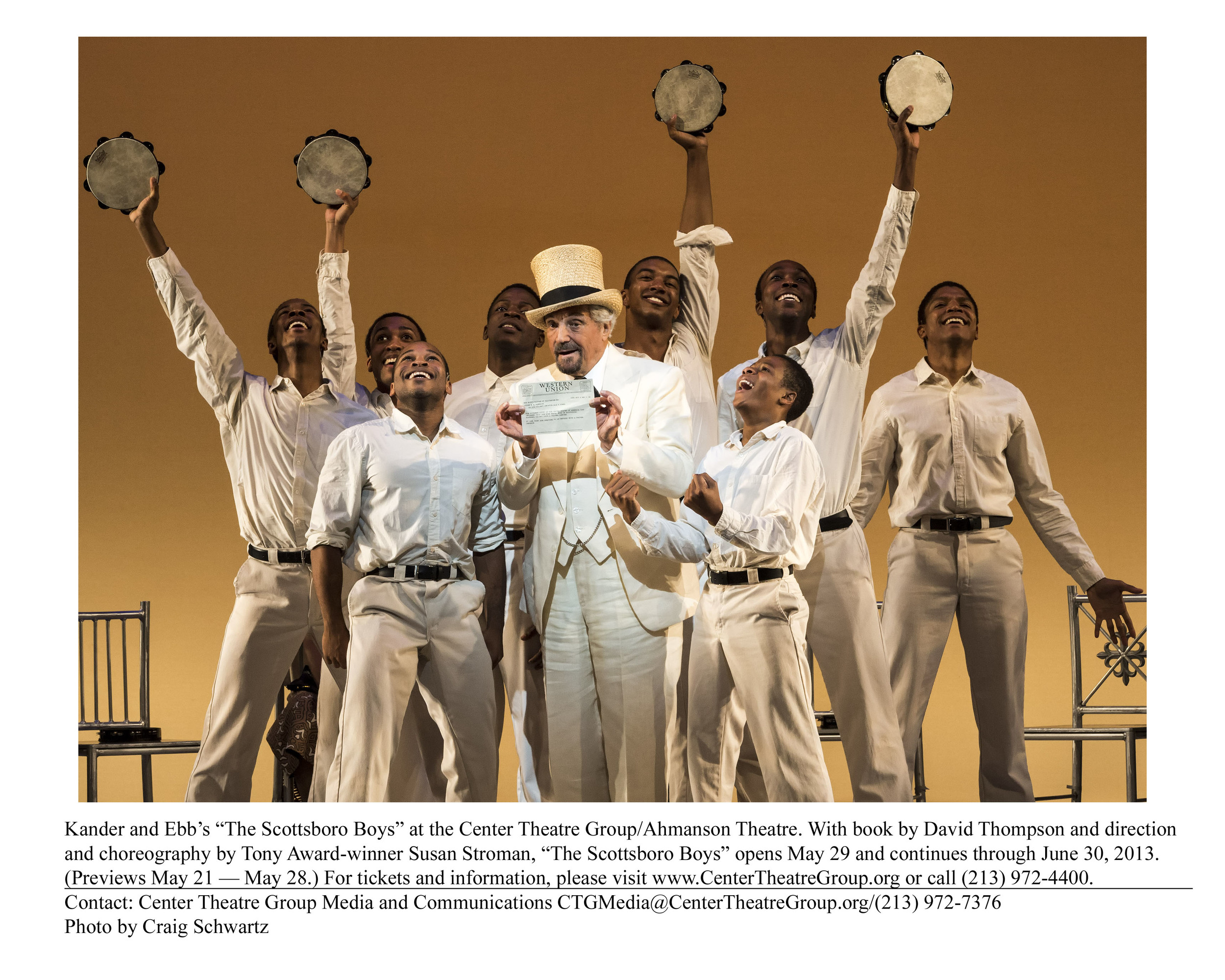 "Kander and Ebb's ""The Scottsboro Boys"" at the Center Theatre Group/Ahmanson Theatre. With book by David Thompson and direction and choreography by Tony Award-winner Susan Stroman, ""The Scottsboro Boys"" opens May 29 and continues through June 30, 2013. (Previews May 21 — May 28.) For tickets and information, please visit www.CenterTheatreGroup.org or call (213) 972- 4400. Contact: Center Theatre Group Media and Communications CTGMedia@CenterTheatreGroup.org/(213) 972-7376 Photo by Craig Schwartz"