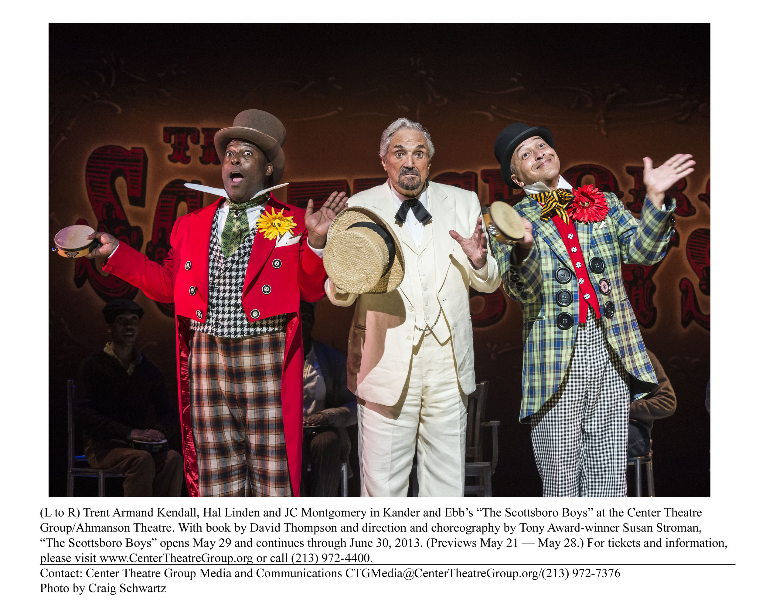 "(L to R) Trent Armand Kendall, Hal Linden and JC Montgomery in Kander and Ebb's ""The Scottsboro Boys"" at the Center Theatre Group/Ahmanson Theatre. With book by David Thompson and direction and choreography by Tony Award-winner Susan Stroman, ""The Scottsboro Boys"" opens May 29 and continues through June 30, 2013. (Previews May 21 — May 28.) For tickets and information, please visit www.CenterTheatreGroup.org or call (213) 972-4400.                                                                                               Contact: Center Theatre Group Media and Communications CTGMedia@CenterTheatreGroup.org/(213) 972-7376 Photo by Craig Schwartz"