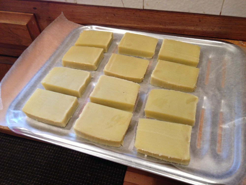 Soap, cut and drying