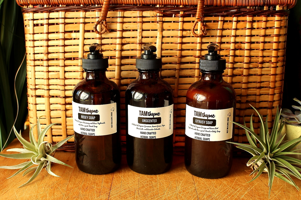Tam Thyme Liquid Soaps - Unscented, Rosey Soap, Citrusy Soap
