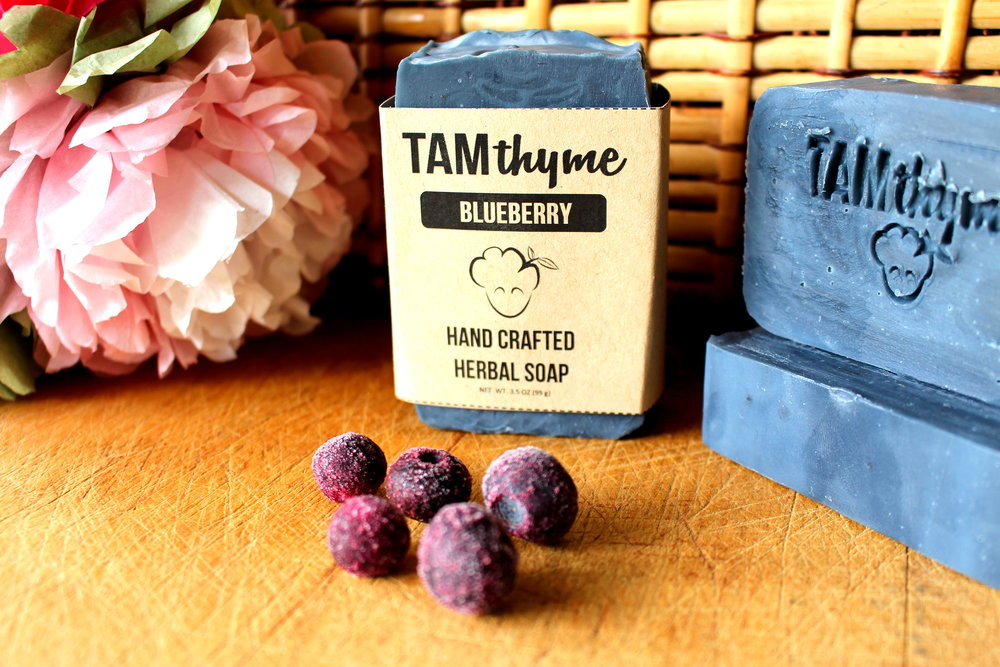 Blueberry Soap - a shea butter based soap naturally colored with organic indigo powder and scented with actual Blueberry with Coconut Vanilla notes.