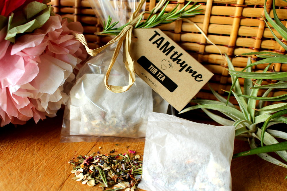 Tub Teas - So many people were not satisfied with the one offered in the Spa in a Jar so I made more and put them in sachets to easily throw in the tub; Chock full of organic aromatic herbs and essential oils; Great to throw in a bath tub and let steep for a few minutes before soaking in your own cup/tub of tea!
