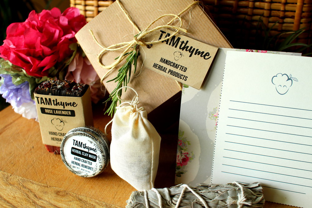 Herbal Mini Gift Box - your choice of soap bar (Charcoal is an additional charge), Herbal Clay Mask, Hibiscus Holiday Tea, White Sage Smudge Stick, and a stationary notecard in a cute little gift box with a sprig of fresh rosemary!