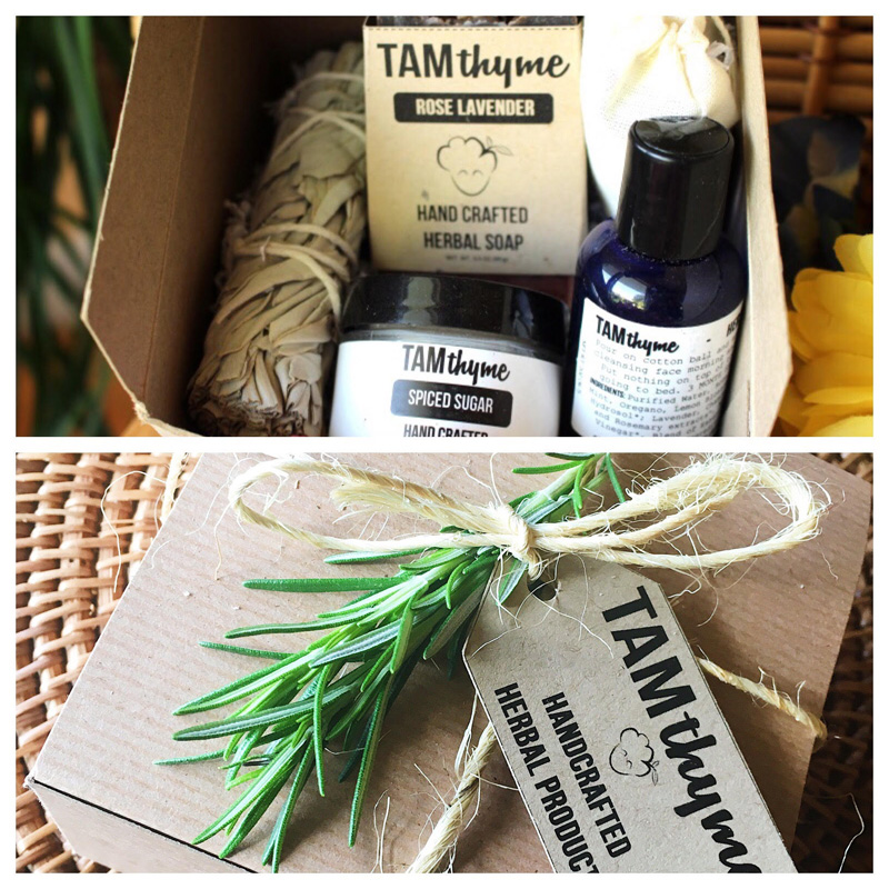 Herbal Goodies Gift Box -  Your choice of soap bar, Lavender or Spiced Infused Sugar or Honey, mini Holiday Hibiscus Tea, White Sage Smudge Stick, and mini Herbal Toner, all in a cute little gift box with a sprig of fresh rosemary!