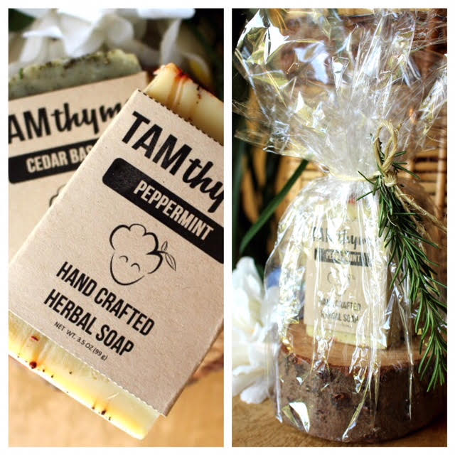 Holiday Soaps Gift Set -  Get one Cedar Basalm and one Peppermint Bar Soap, wrapped and looking cute on a widdle stump!