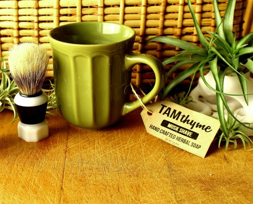 Shave Soap Mug Set -  Liquid and Foaming Shaving soaps, full of preservatives and chemicals, are so last year. Try using a shaving brush to lather up some soap, like in the old days, and apply directly to the areas you want to razor off. Great addition to men's morning shaving ritual, if they are not sporting the beard, but who says women can't use it too? Non-irritating organic patchouli fragrance oil is sensually light and not overpowering.