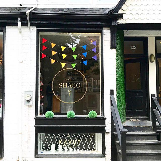Celebrating #PrideMonth at Shagg! Our door is always open❤️💛💚💙💜 #pride #pridetoronto #pride2017 #torontohair #yorkvillehair