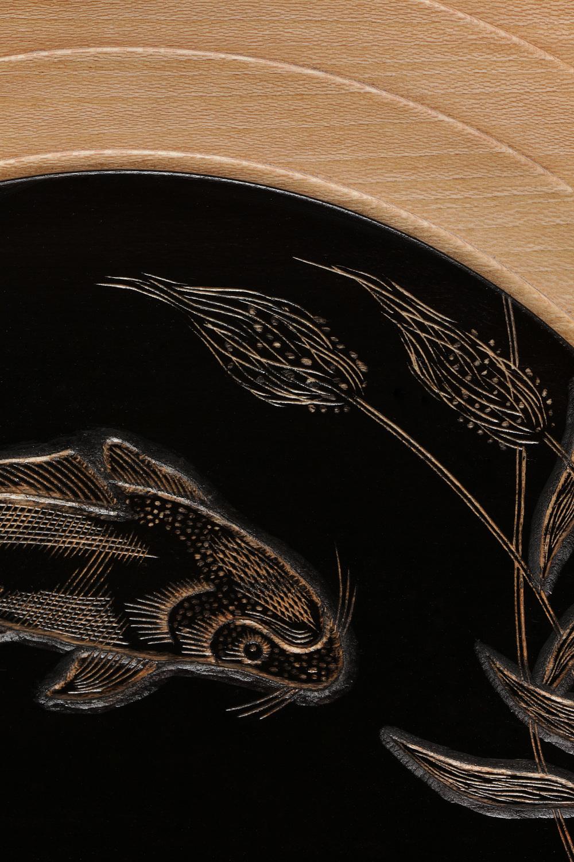 "Lathe-Turned Plate, Ambrosia Maple, 16"" diameter  Ebonized and Carved Border"