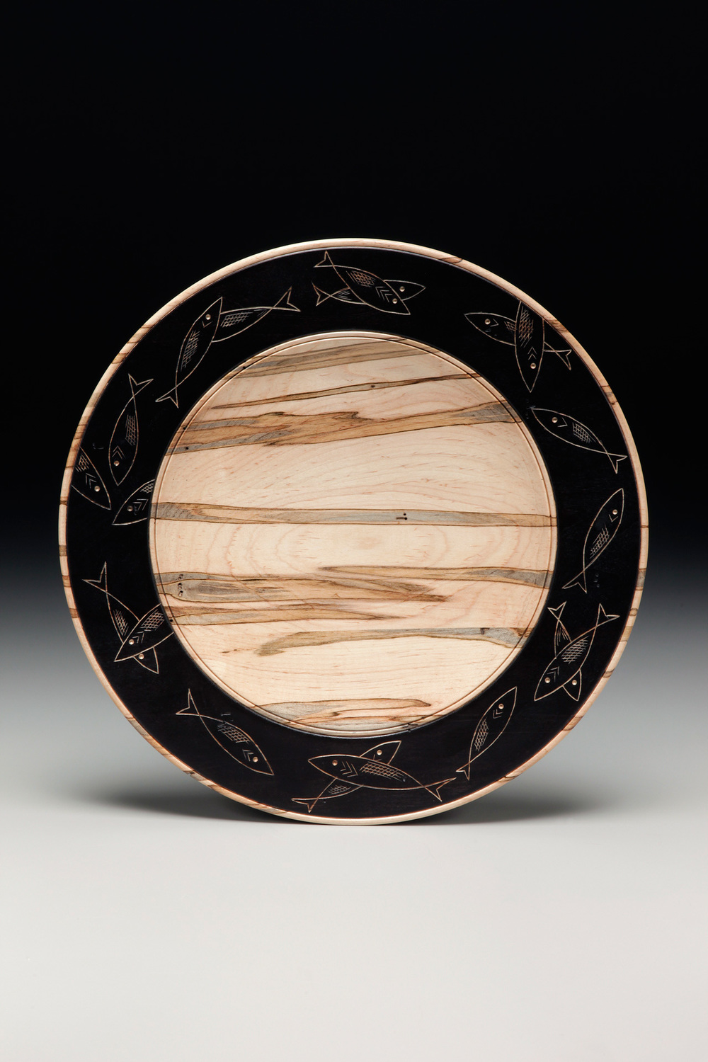 "Lathe-Turned Platter,  Quarter-Sawn Sycamore,  20"" diameter  Ebonized and Carved Center"