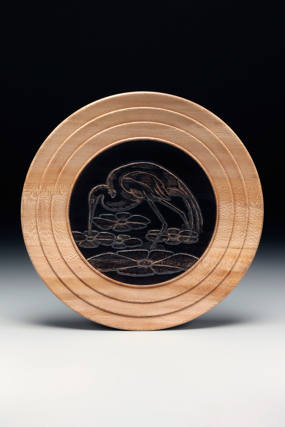 "Lathe-Turned Plate,  Cherry,  16"" diameter  Ebonized and Carved Center"