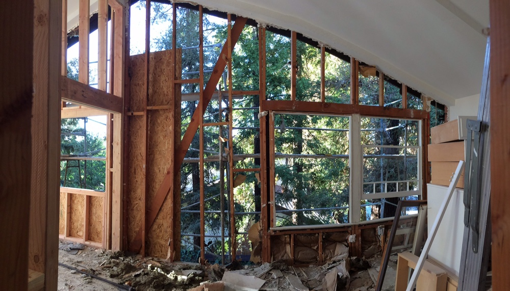 Walls are down, framing is up, look at that view of redwoods.