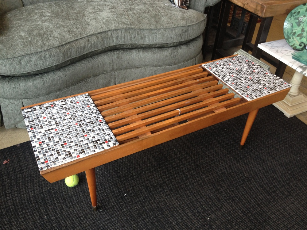 "Here is just a taste of what I had to leave behind. A fabulous MCM slat coffee table with tiled components that pulled out and unfolded to be their own mini TV tray tables. For only $175 at a ""fancy"" upscale consignment shop. The agony of NOT being able to buy this."