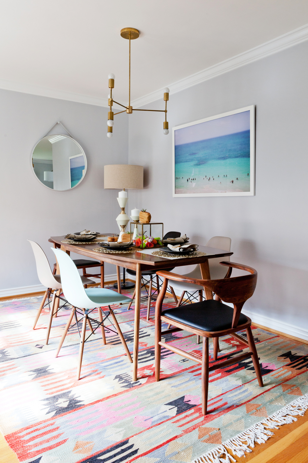 Color Was Brought In By Way Of The Eames Chairs And Large Vintage Kilim Rug Which Also Covers Much Wood Floors That Arent Best Shape