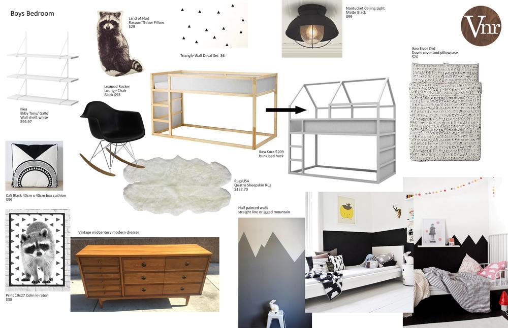 wall shelves, raccoon pillows, triangle wall stickers, ceiling light, rocker, sheepskin, bunk bed, duvet set, floor pillow, raccoon print