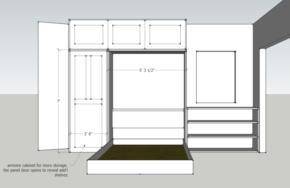 Custom cabinetry rendering showing the bed in the open position to guide the cabinet maker in his fabrication.