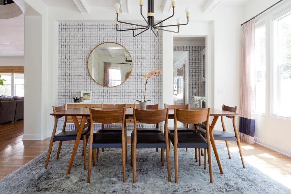 Modern dining room with scandinavian wallpaper 2