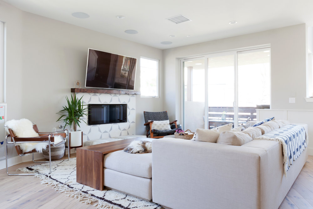 The Playa Vista sectional with custom walnut wood topper in action