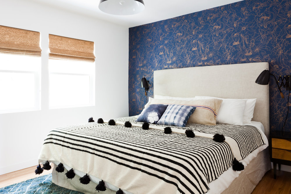 Pattern People Underwater Wallpaper In Santa Monica Master Bedroom.