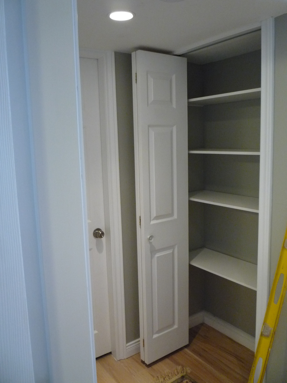 Linen Closet with Interior Shelf Organizers
