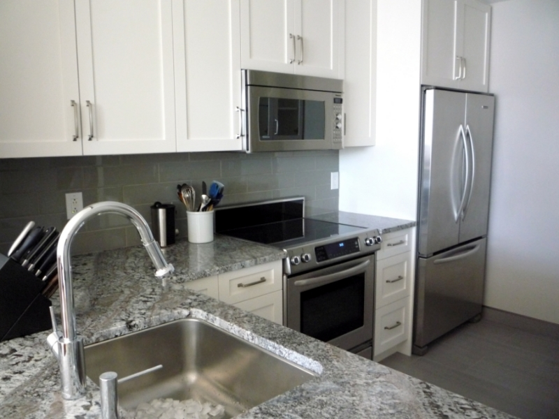 Vancouver Kitchen Renovation - White Cabinets, Granite Countertops, Stainless Steel Appliances