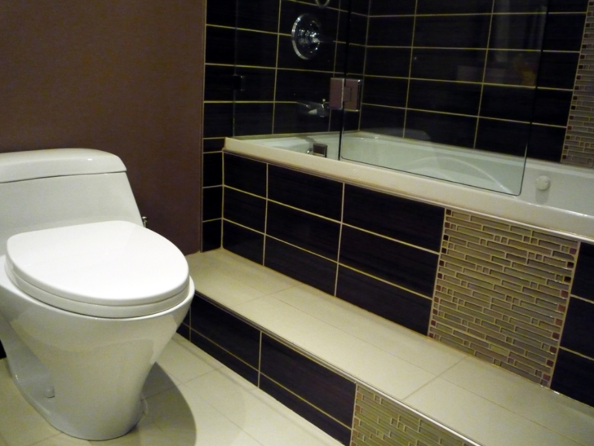 Vancouver Bathroom Renovations - Tiled Bathtub and Toilet.JPG