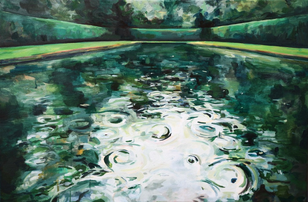 "'Reflection Pool I', 20"" x 30"", water soluble oil on canvas"