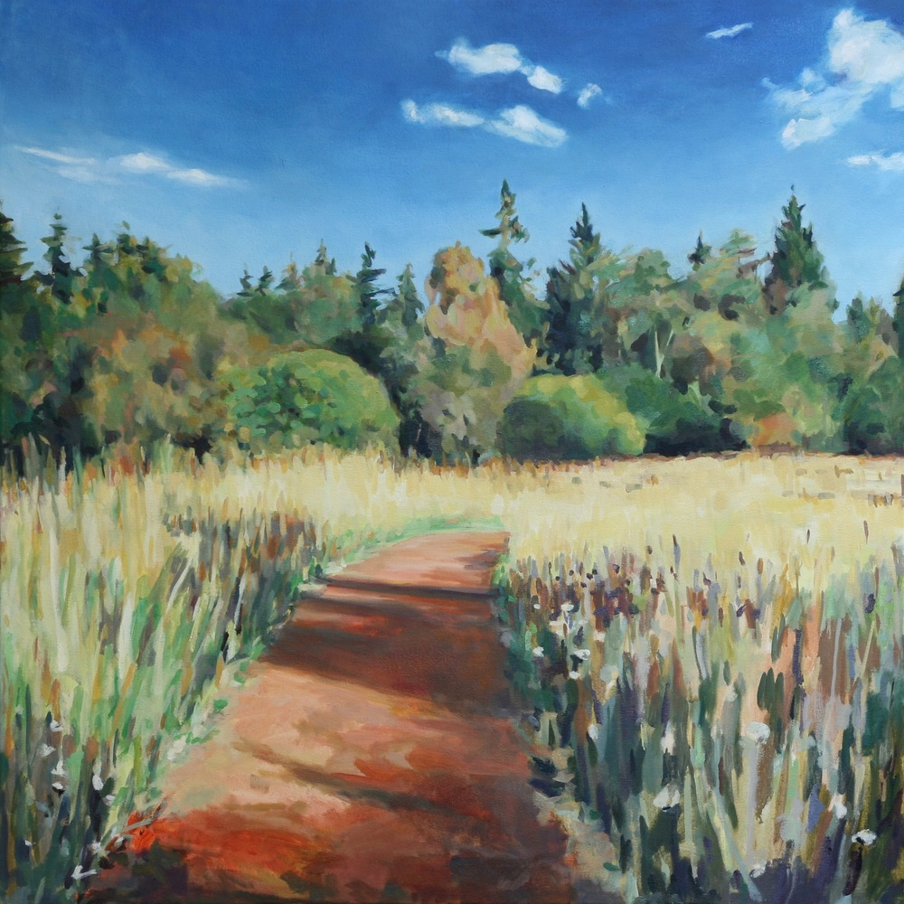 "'Meadow Path', 36"" x 36"", water soluble oil on canvas"